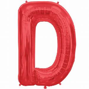 letter d 34 inch foil balloon With red mylar letter balloons