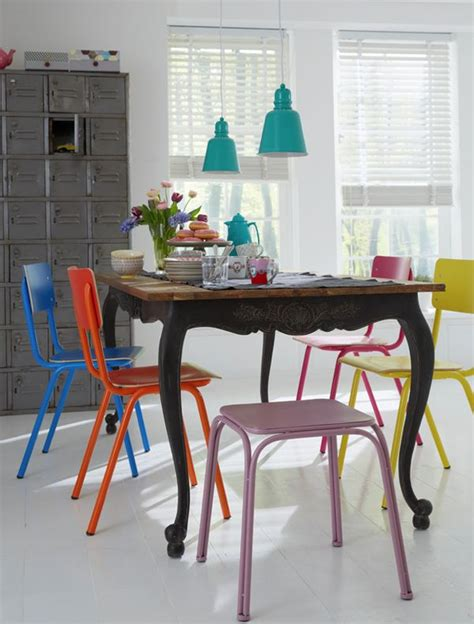 multi colored dining chairs a playful touch for the d 233 cor