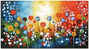 Gemalte Bilder Auf Leinwand : tanzende bunte mohnblumen hand bemalt abstrakten blume ~ Frokenaadalensverden.com Haus und Dekorationen