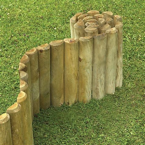 wickes  log timber border edging roll    mm