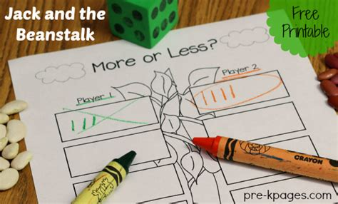 and the beanstalk preschool activities 231 | more or less activity