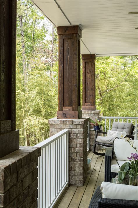 Wood and Brick Front Porch Columns