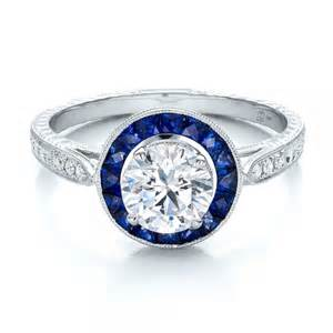 blue sapphire engagement ring deco style blue sapphire halo and engagement 100385 bellevue seattle joseph jewelry