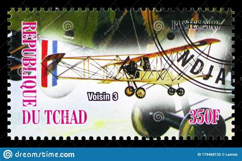 Postage Stamp Printed In Chad Shows Voisin 3, Aircrafts Of ...