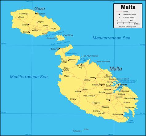 malta map  satellite image
