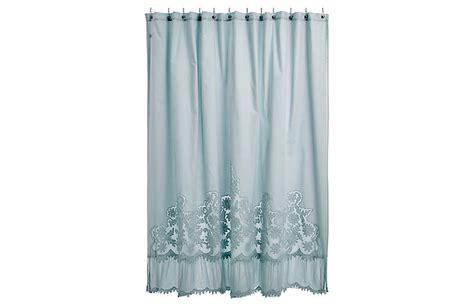caprice shower curtain aqua pom pom at home brands