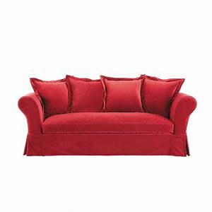Canapé Velours Rouge : canap 3 4 places en velours rouge velvet maisons du monde ~ Teatrodelosmanantiales.com Idées de Décoration