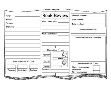 book review template  kids book reports book