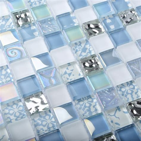 Blue Mosaic Tiles Bathroom by Tst Glass Tiles Blue Glass Mosaic Tile Iridescent