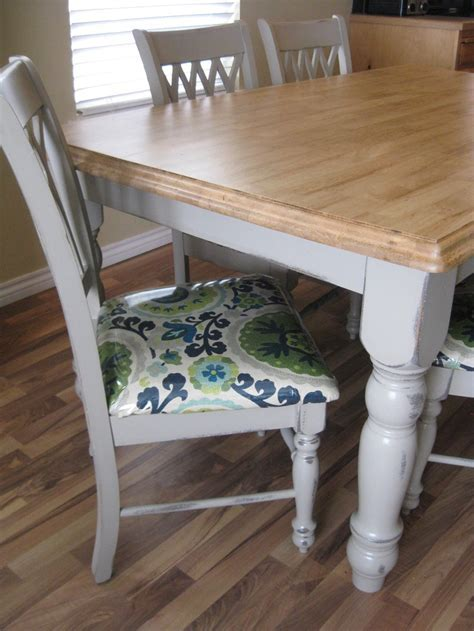 Recovering dining chairs. Painted grey table with stained