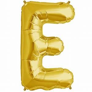 34quot gold letter e foil balloon With black foil letter balloons