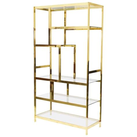 Etagere Shelves by Midcentury Brass Etagere Display Shelf Unit For Sale At