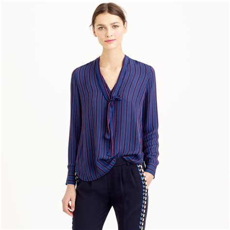 jcrew blouses j crew collection silk blouse in pinstripe in