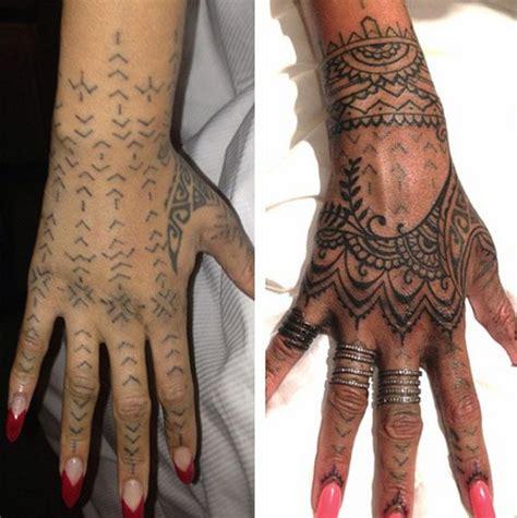 rihanna reveals  henna inspired hand tattoo  bang bang