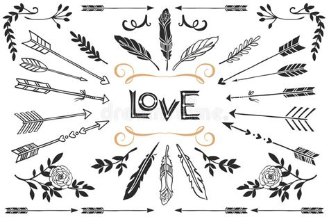 hand drawn vintage arrows feathers  flowers