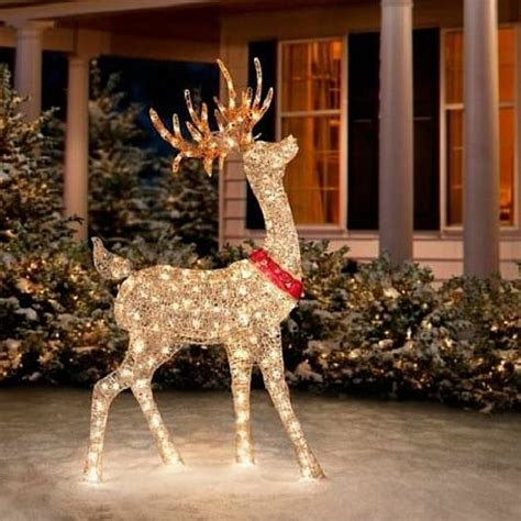 buy sale  outdoor lighted pre lit golden buck reindeer