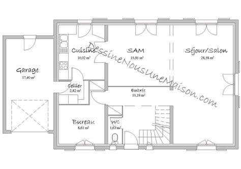 plan maison rdc 3 chambres plan de maison traditionnelle gratuit plan maison plain