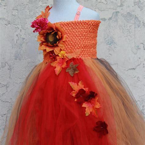 orange custom  fall colors flower girl dress red brown