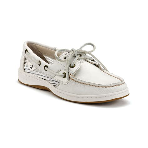 White Boat Shoes by Sperry Top Sider Bluefish Boat Shoes In White White Mesh