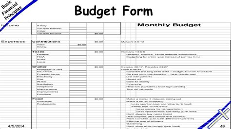 monthly household budget template business