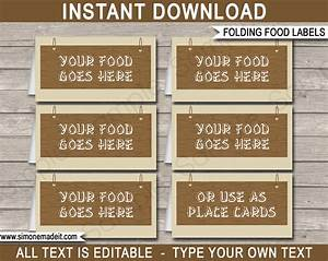 camping party food labels place cards editable template With food labels for party template