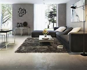 canape gris moderne 55 modeles dangle ou droits fonces With tapis de sol avec canape bois tissus