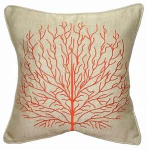 Pillow Decor - Fire Coral 17 x 17 Throw Pillow, Orange