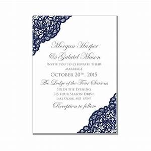 lace wedding invitation navy wedding vintage lace With diy wedding invitations on microsoft word
