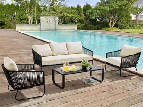 recherche canapé salon de jardin envigado en métal et corde canapé 3 places 2 fauteuils et table basse noir encre