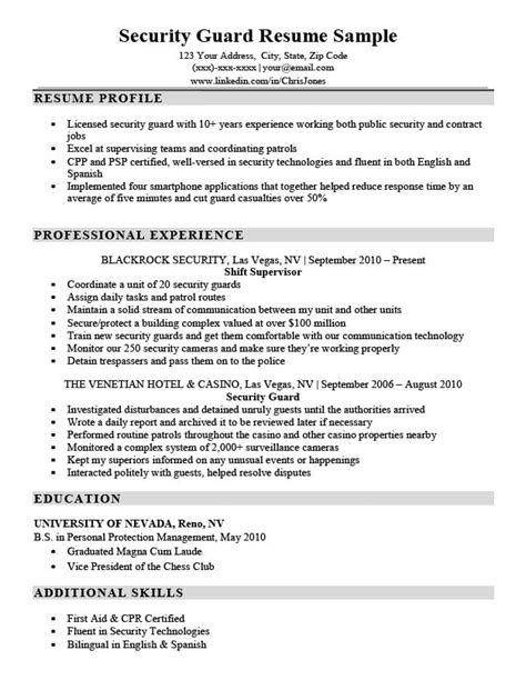 Resume For Security Guard by Security Guard Resume Sle Writing Tips Resume Companion