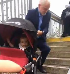 Jeremy Corbyn helps mum with her buggy at Crawley station ...