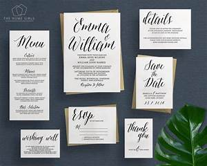 printable wedding invitation suite calligraphy save the With wedding invitations with rsvp and save the date
