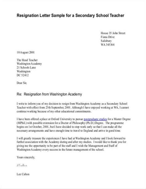 FREE 11+ Teacher Resignation Letter Samples and Templates in PDF   MS Word