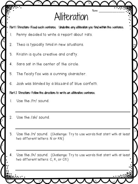 crafting connections alliteration anchor chart plus