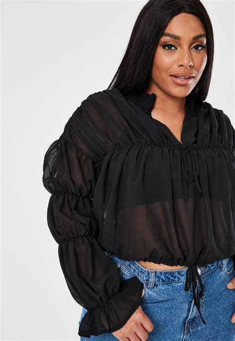 plus size black sheer poet blouse | Missguided