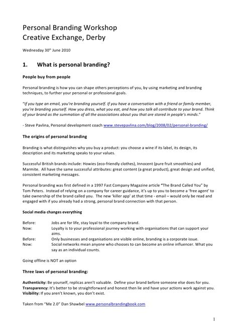 Branding Your Resume Sles by Personal Branding In The Digital Age Course Handouts