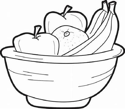 Fruit Bowl Coloring Drawing Fruits Basket Pages