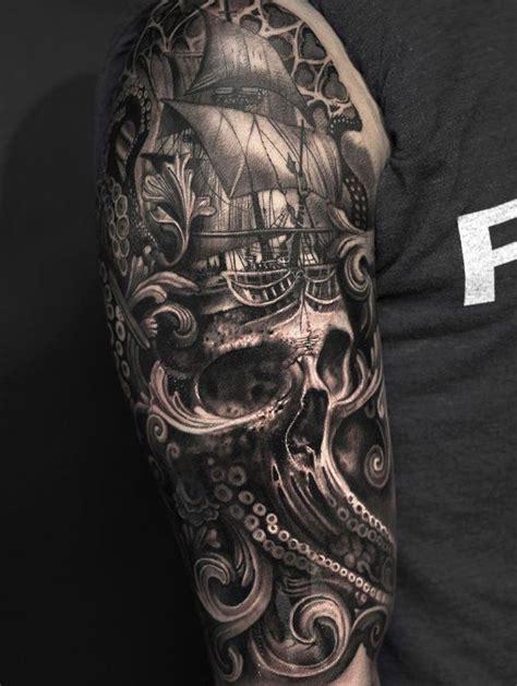baroque ship | Pirate tattoo sleeve, Ship tattoo sleeves ...