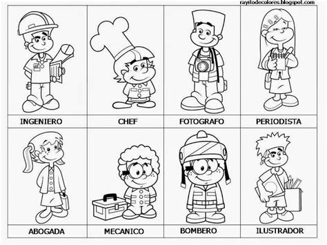 laminas colorear de los servicios publicos 90 figuritas de oficios colorear infantil