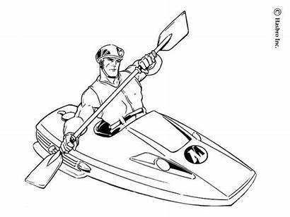 Coloring Kayak Action Pages Canoe Super Drawing