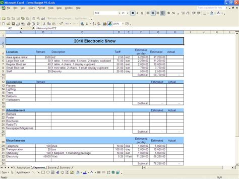 event budget proposal examples  word examples