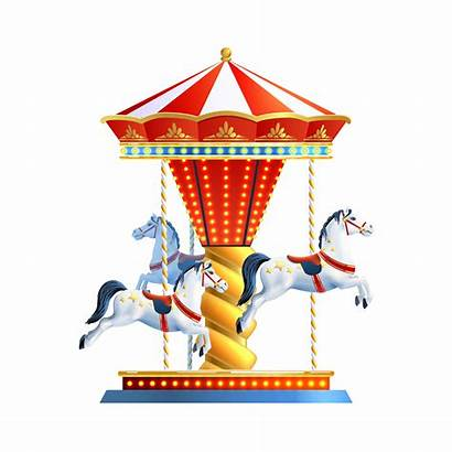 Carousel Vector Circus Clipart Realistic Isolated Manege
