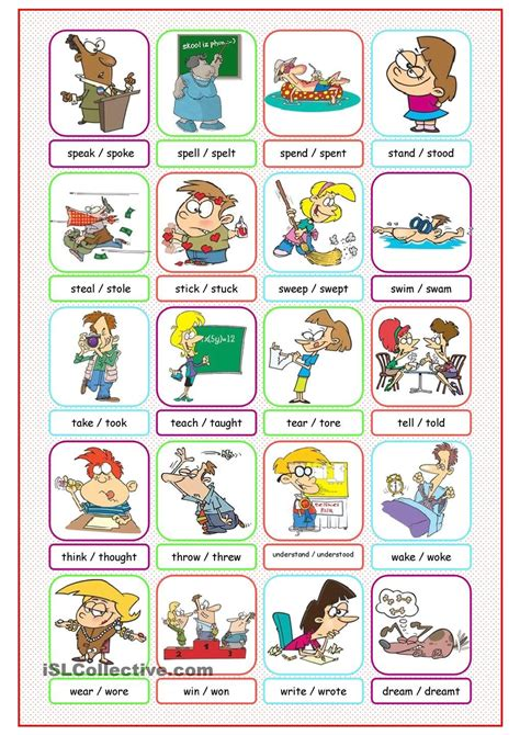 irregular verbs picture dictionary teacher resources