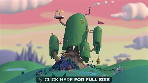 Adventure Time Anime Wallpaper Hd - finn and jakes tree house 4k wallpaper