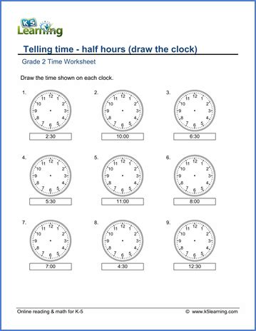 Grade 2 Telling Time Worksheets Drawing A Clock  Half Hours  K5 Learning