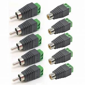 5 Pairs Speaker Wire Cable To Female   Male Rca Connector