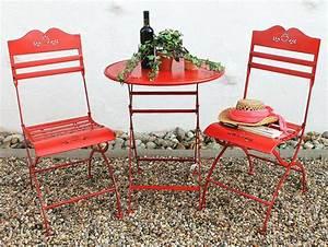 Gartentisch Und Stühle Set : sitzgruppe passion tisch mit 2 st hle set aus metall rot gartenstuhl gartentisch ebay ~ Orissabook.com Haus und Dekorationen