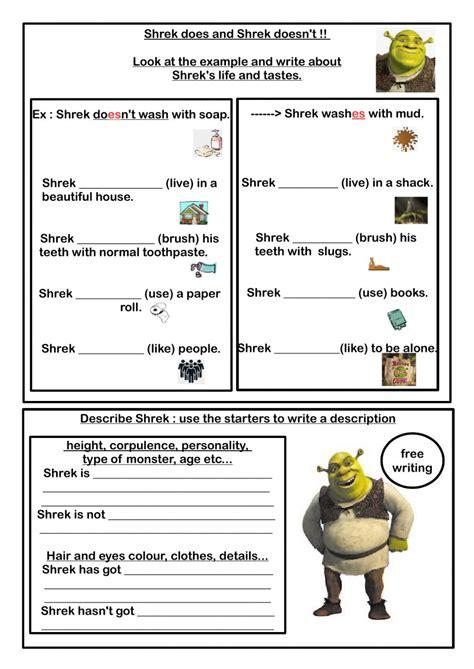 shreks routine worksheet