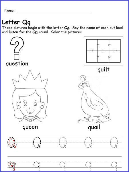 letter q worksheet for kindergarten letter p q r