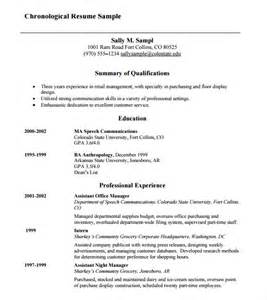 chronological format resume sle chronological resume 9 sles exles format